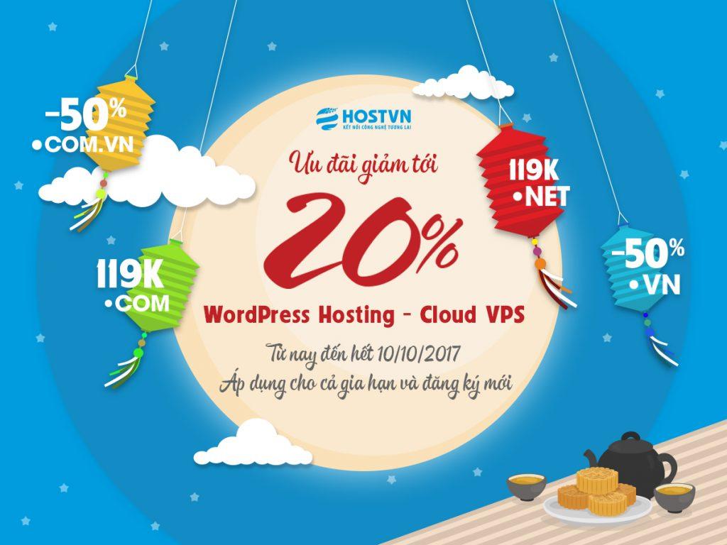 Ưu đãi 20% dành cho gia hạn và đăng ký mới Cloud VPS