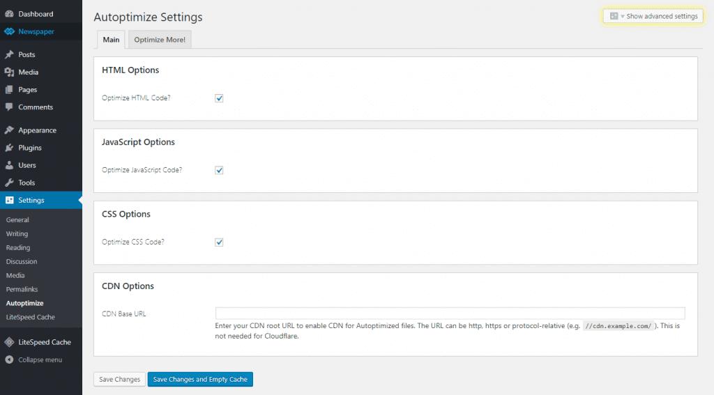Cấu hình chi tiết Plugin Autotimize