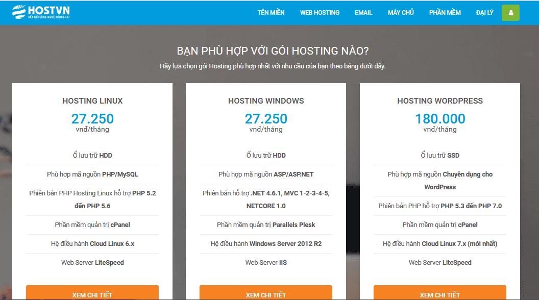 Các gói web hosting tại HOSTVN cho bạn lựa chọn