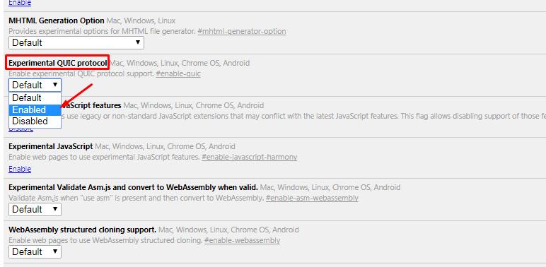 Thêm QUIC cho WordPress Hosting trên trình duyệt Chrome