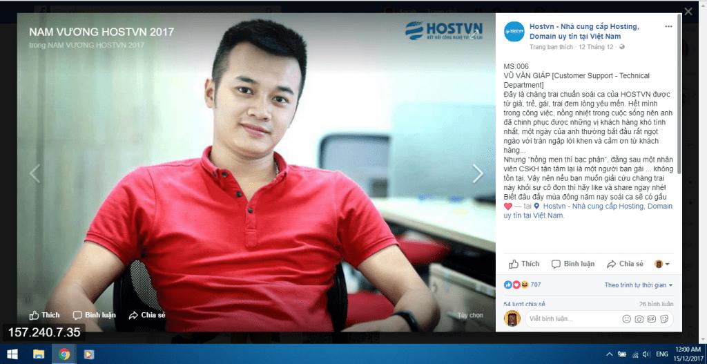 Nam thần đạt giải ảnh Vương qua bình chọn ảnh đẹp trên Fanpage HOSTVN