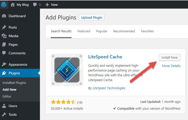 Cài đặt LiteSpeed Cache vào WordPress