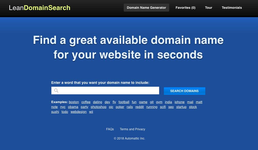 Công cụ gợi ý tên miền Lean Domain Search