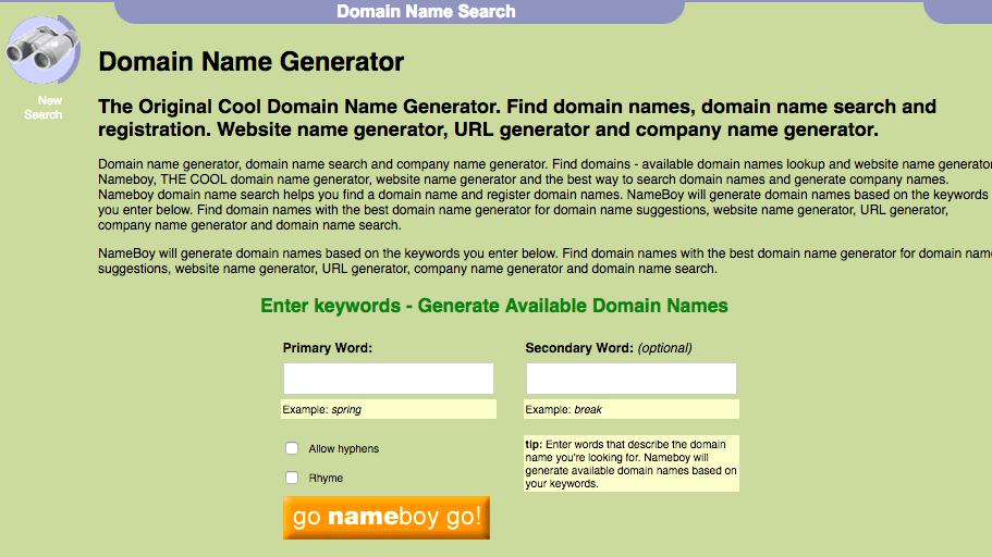 Công cụ gợi ý tên miền Nameboy
