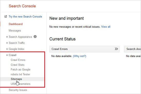 Cập nhật sitemaps lên Google Search Console