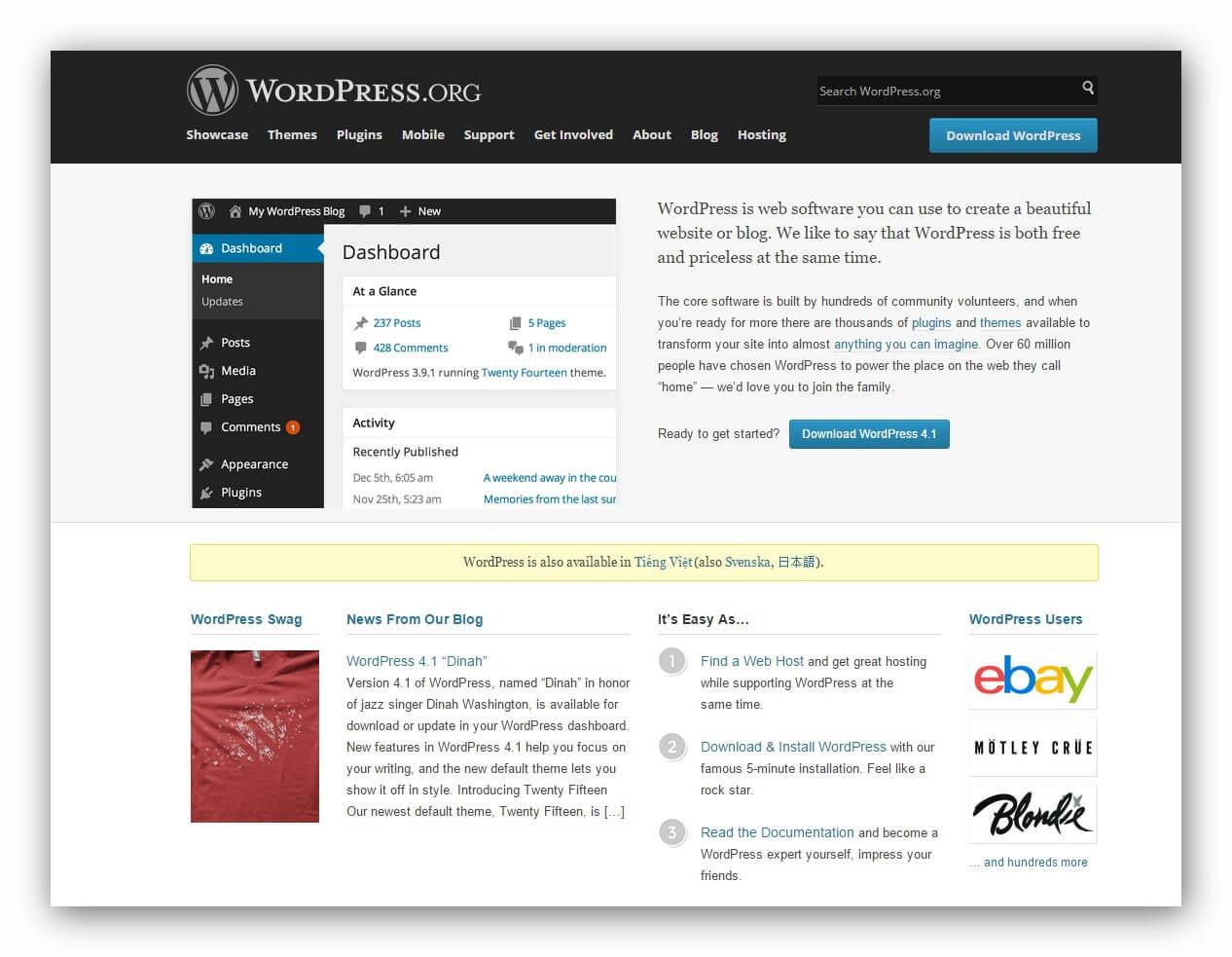 giao diện WordPress.org và WordPress.com