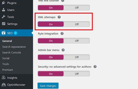 Bật chế độ tự động tạo XML sitemaps trên YoastSEO