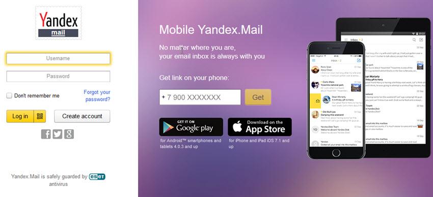 tạo email yandex