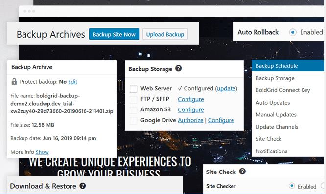 boldgrid - plugins backup cho wordpress