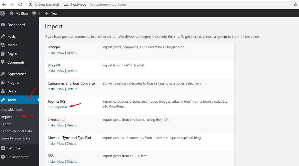 Cách chuyển website từ Joomla sang WordPress NHANH CHÓNG 5
