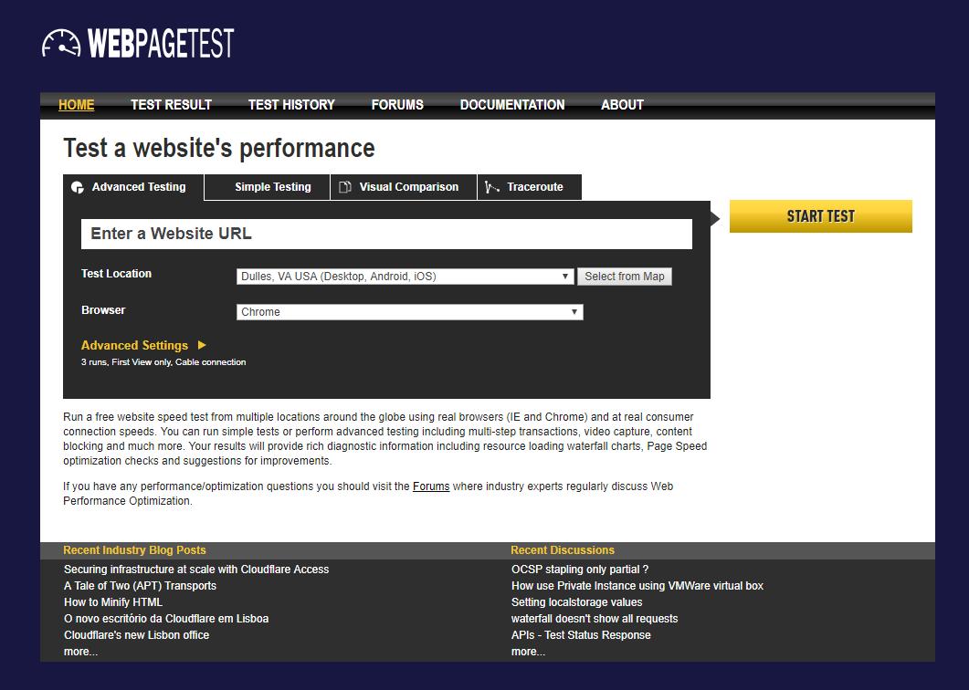 WebPageTest - kiểm tra tốc độ website