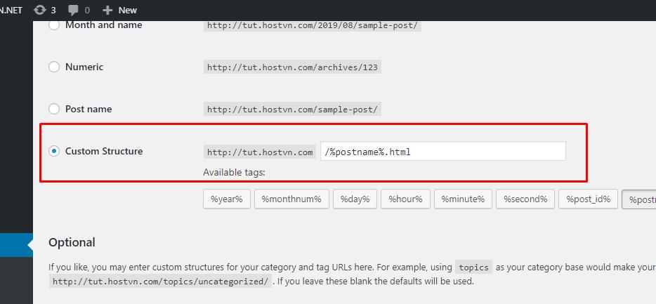 cấu hình URL thân thiện cho wordpress