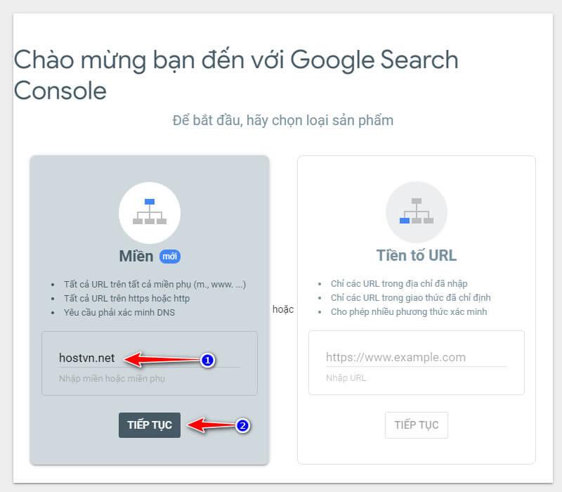 khai báo tên miền với Google Webmaster Tools