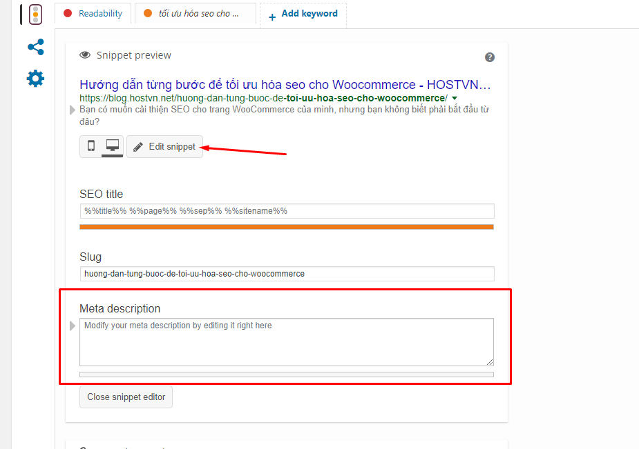 Meta description - tối ưu hóa seo cho Woocommerce