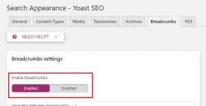 Breadcrumbs settings - tối ưu Seo cho wordpress