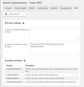 RSS feed settings - tối ưu Seo cho wordpress