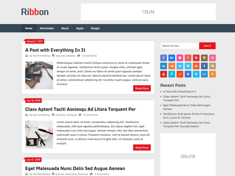 Ribbon_Lite - theme WordPress miễn phí