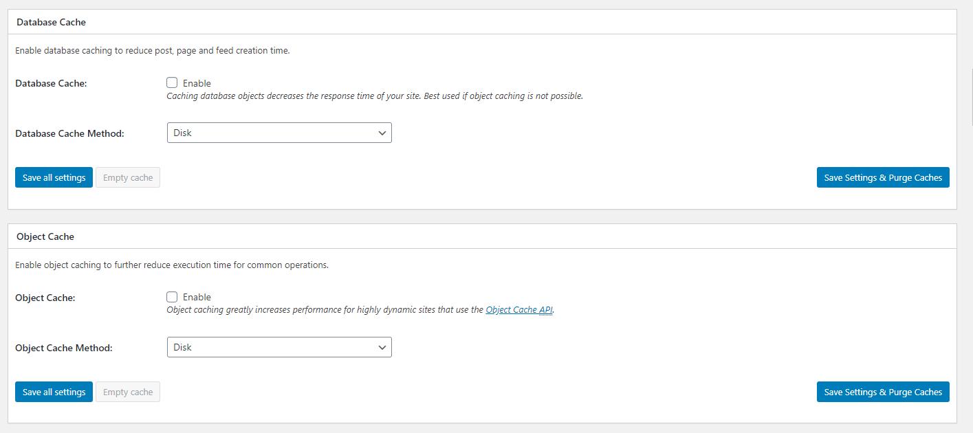 Caching Modules - cấu hình WordPress Cache