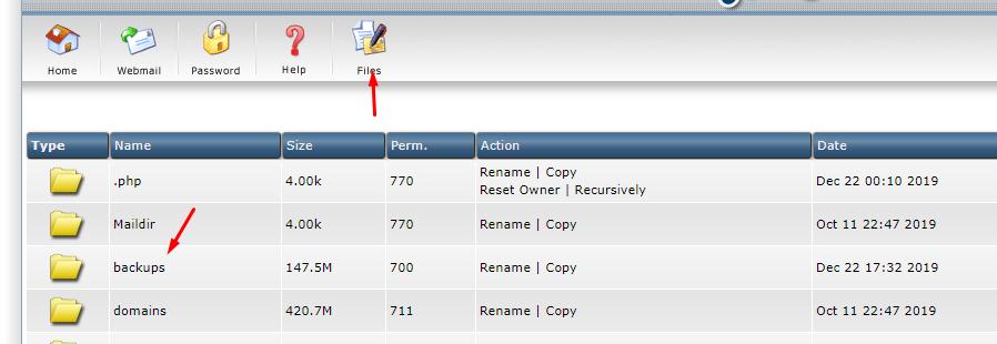 files manager - backup website WordPress