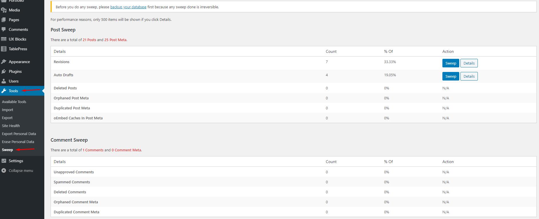 Sweep - tối ưu database WordPress