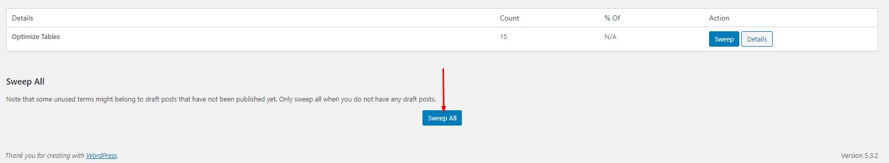 Sweep All - tối ưu database WordPress