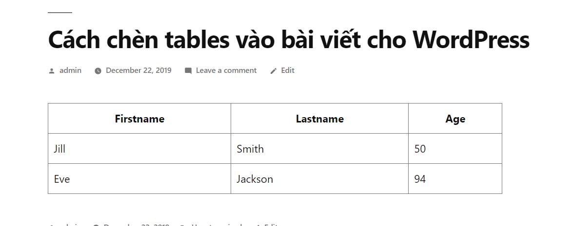 tables - chèn tables vào bài viết cho WordPress