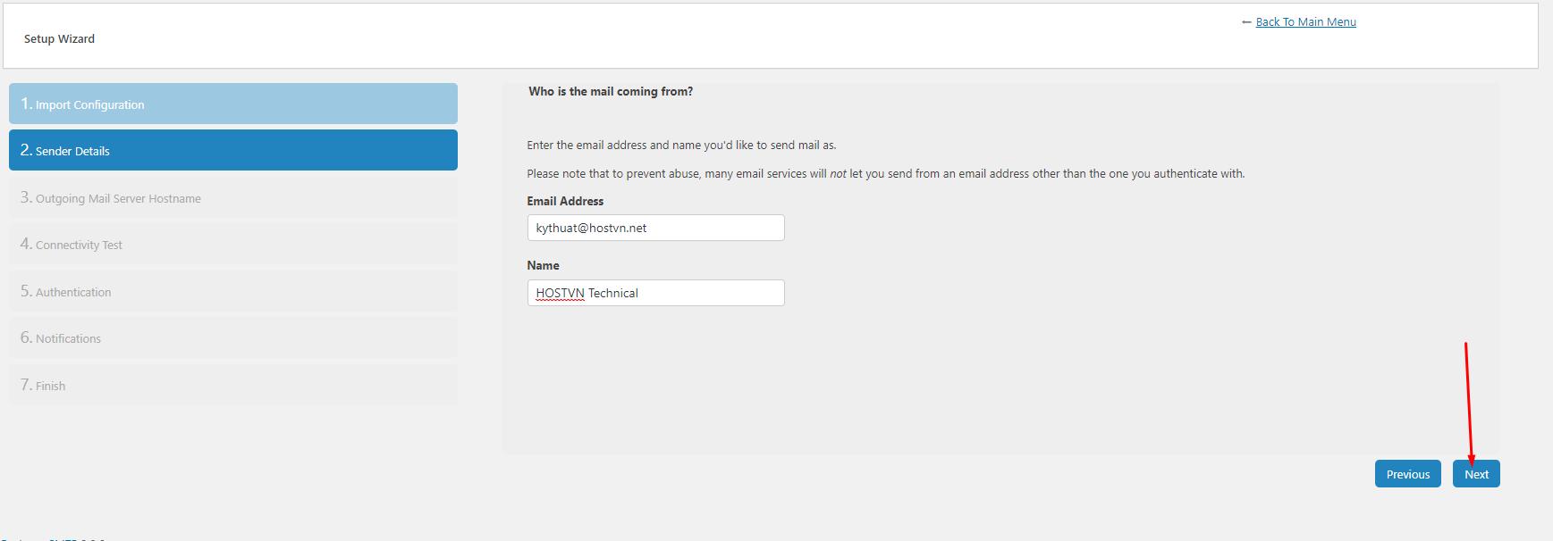 setting Email Address