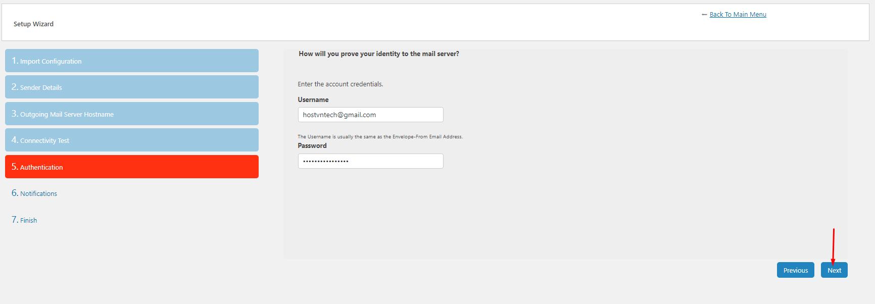 account credentials - gửi mail SMTP WordPress