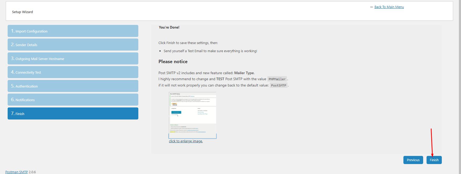 finish setting - gửi mail SMTP WordPress