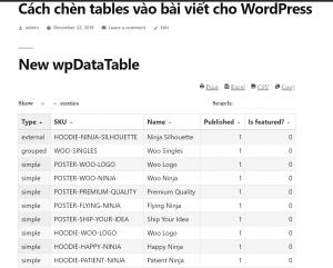New wpDataTable - chèn tables vào bài viết cho WordPress