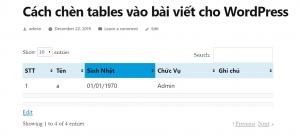 Showing tables - chèn tables vào bài viết cho WordPress