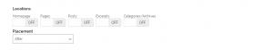 Locations settings - nút chia sẻ trong bài viết