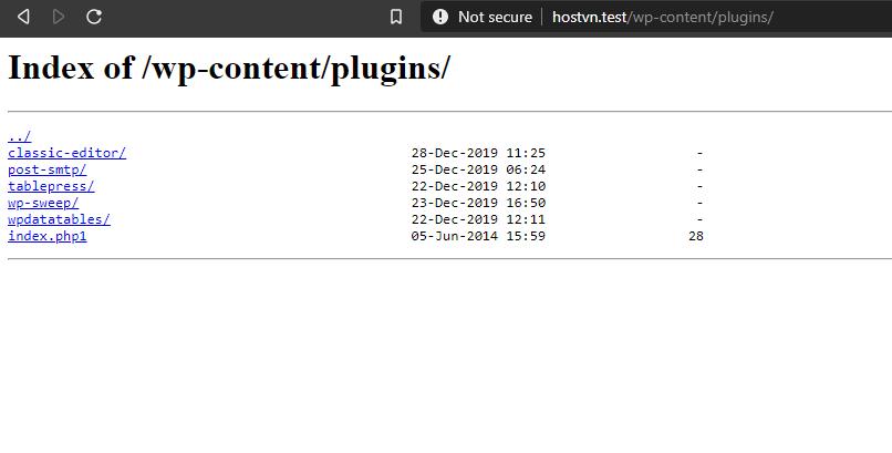 tắt Directory Browsing cho WordPress