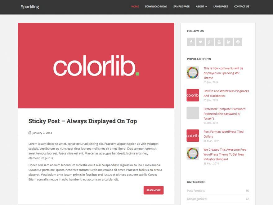 Sparkling - theme WordPress miễn phí