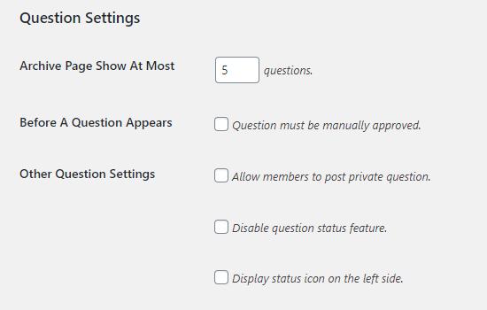 Question Settings