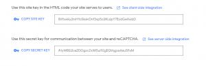 reCAPTCHA keys - chống spam bình luận wordpress