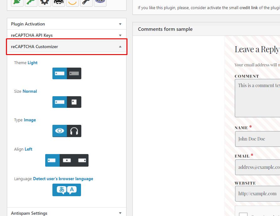reCAPTCHA Customizer - chống spam bình luận wordpress