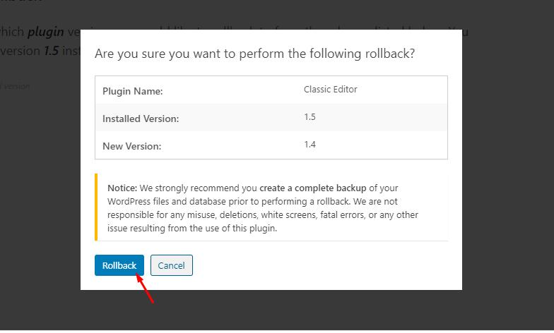 rollback plugins - Trang web gặp vấn đề lỗi kỹ thuật
