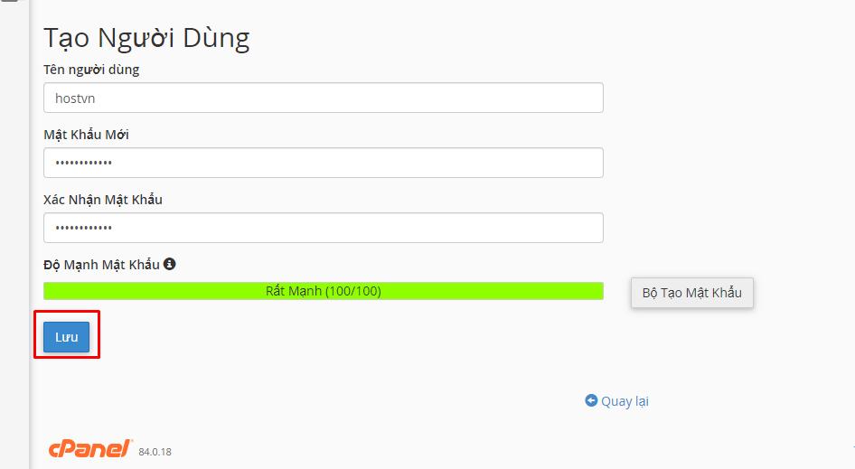 Tạo Người Dùng - đặt mật khẩu hai lớp cho wp-admin