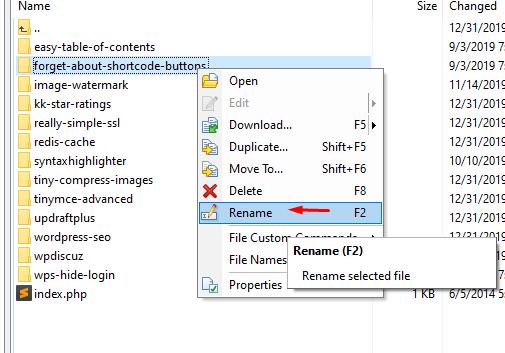 rename folder - sửa lỗi Error Too Many Redirects