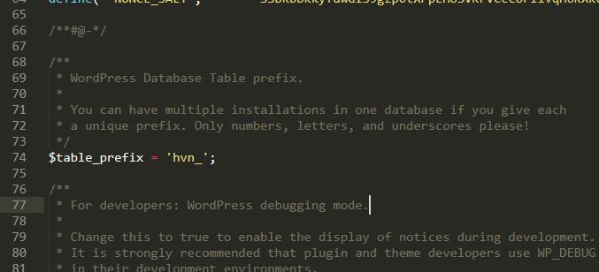 Database Table prefix