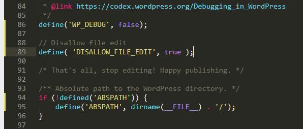 DISALLOW_FILE_EDIT - bảo mật cho WordPress