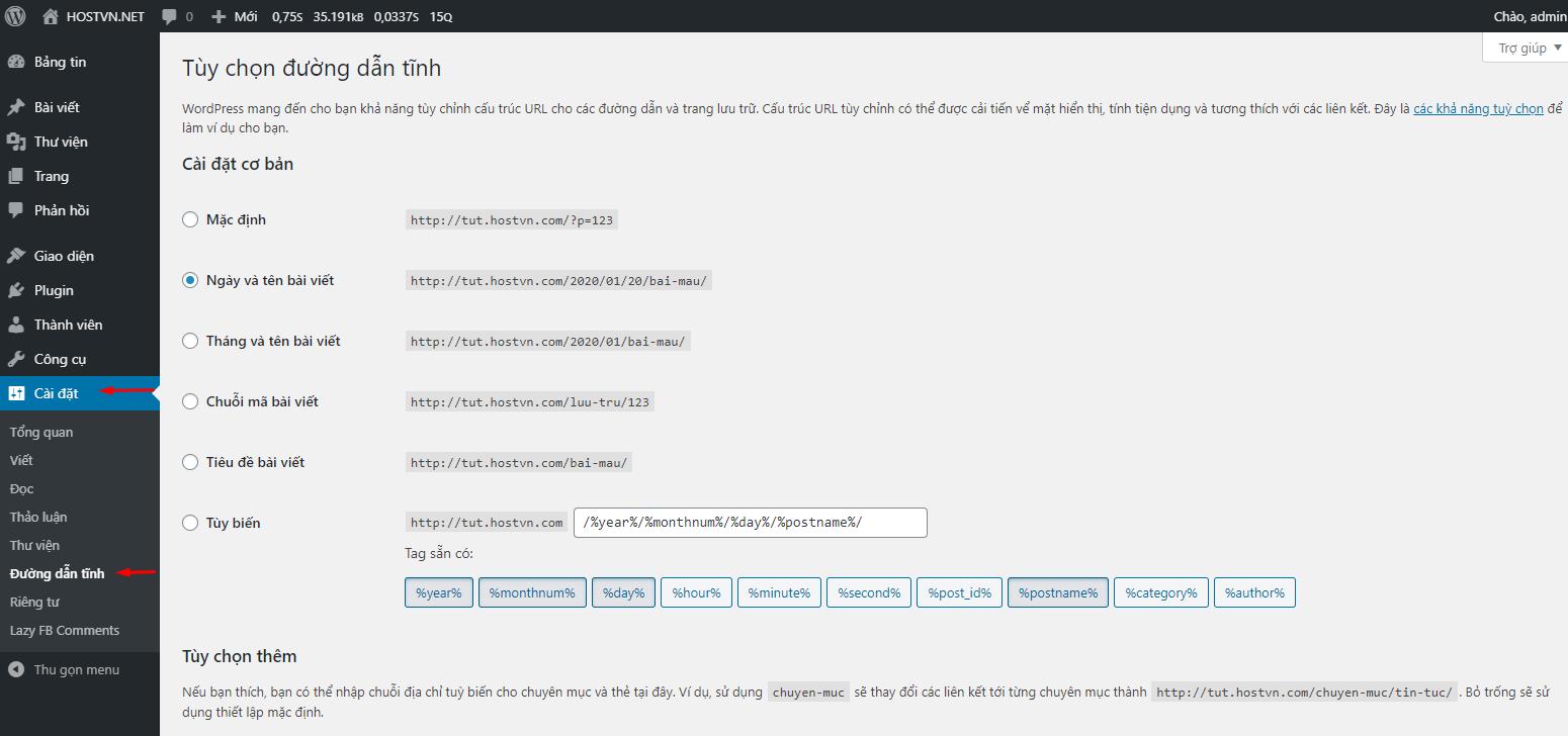 URL thân thiện trong WordPress