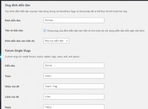 slug setting - tạo diễn đàn bằng WordPress