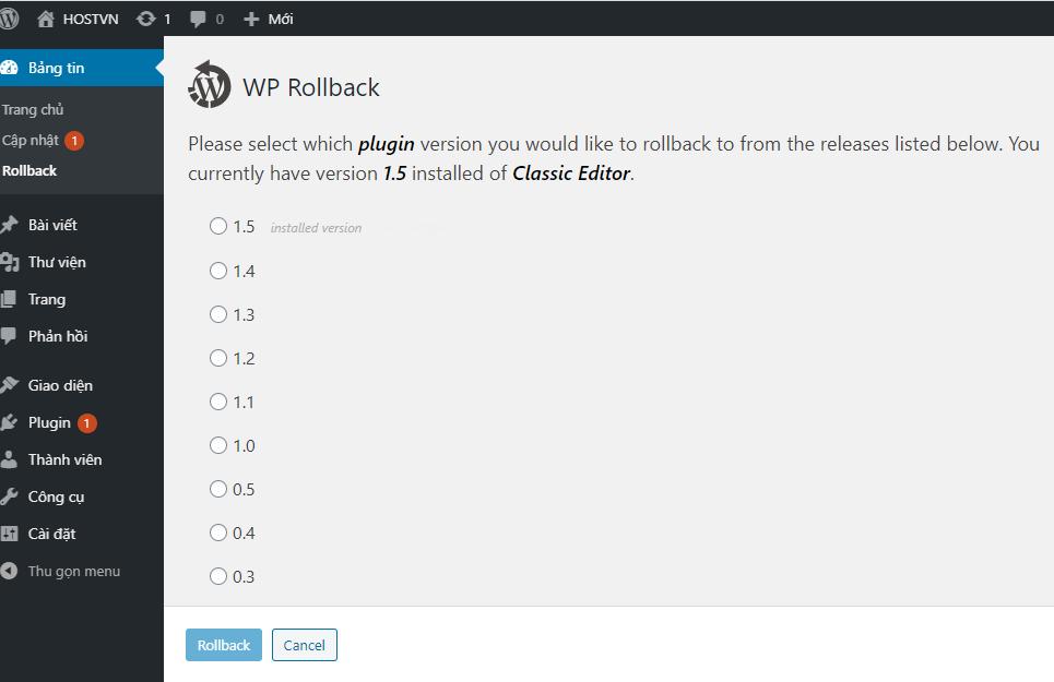 WP Rollback - Trang web gặp vấn đề lỗi kỹ thuật