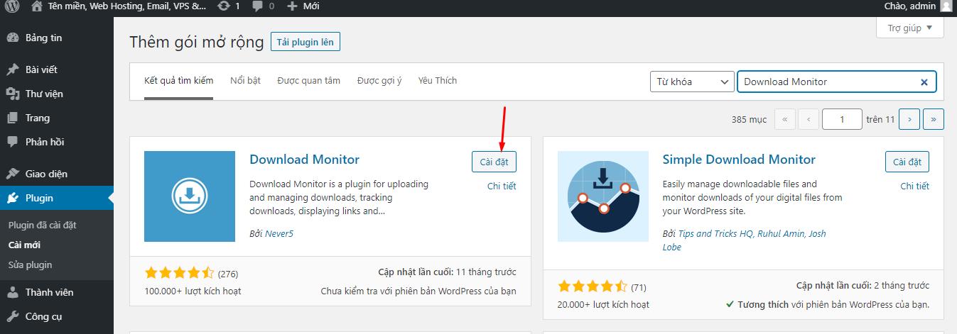 cài đặt Download Monitor - tạo trang download cho WordPress