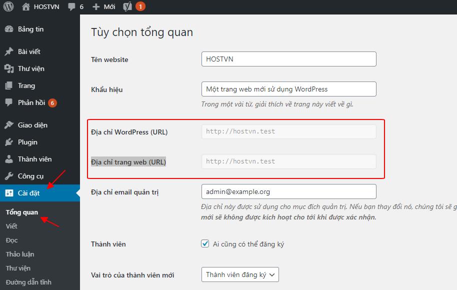 Tùy chọn tổng quan - hướng dẫn sửa lỗi WordPress