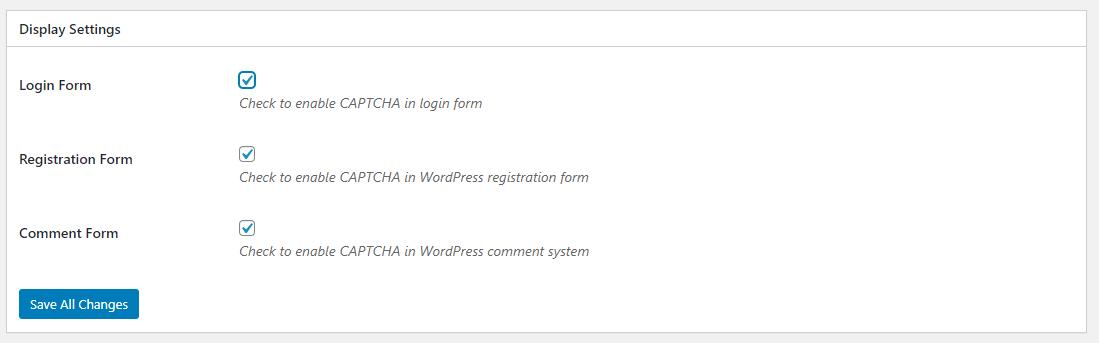 Display Settings - hạn chế spam đăng ký WordPress