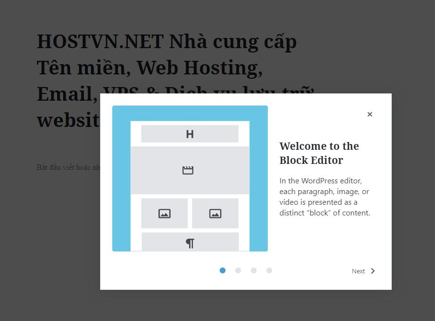 Welcome Guide - phiên bản wordpress 5.4