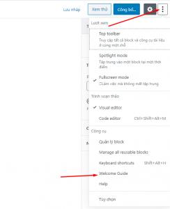 open Welcome Guide - wordpress version 5.4